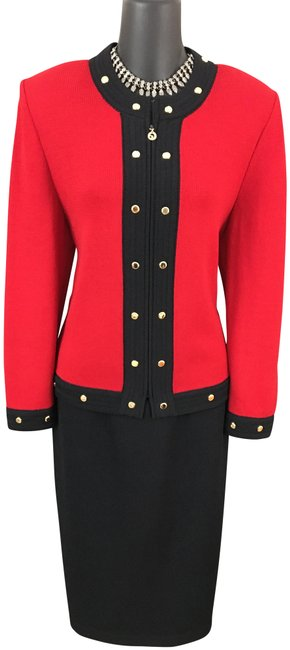 Item - Red Black Multi Collection Knit Jacket Skirt Suit Size 10 (M)