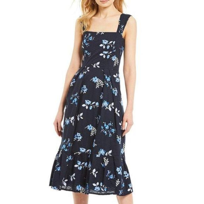 Item - Navy Floral Embroidered Eyelet Cotton Sleeveless Midi Mid-length Cocktail Dress Size 4 (S)