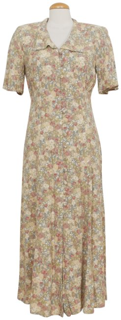 Item - Green Multi Vintage Floral Button Front Long Casual Maxi Dress Size 6 (S)