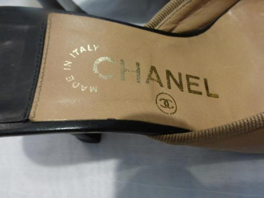 Chanel TAN & BLACK TOE CAP Mules Image 1