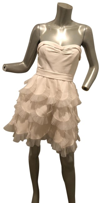 Item - White Strapless Scallop Tulle Trim Short Cocktail Dress Size 2 (XS)