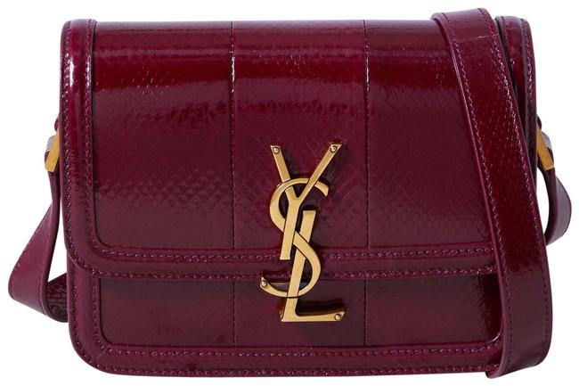 Item - Kaia Small Leather Magenta Snake-effect Glossed-leather Shoulder Bag