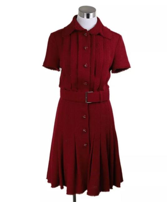 Item - Red Belted Pleated Wool Mid-length Short Casual Dress Size 8 (M)