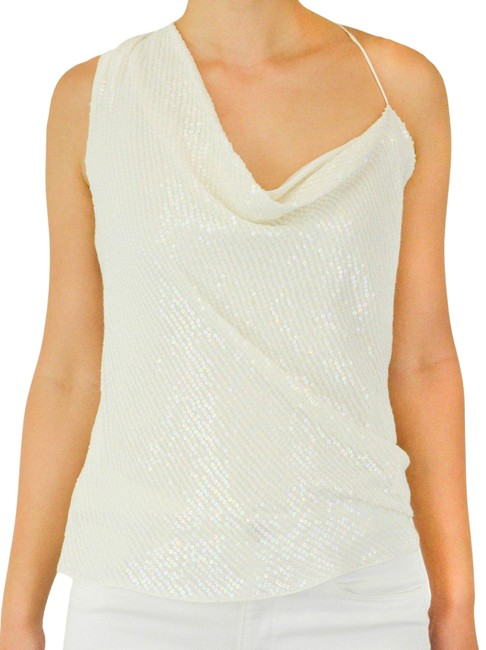 Item - Sequined Assymetric Irridicent White Top