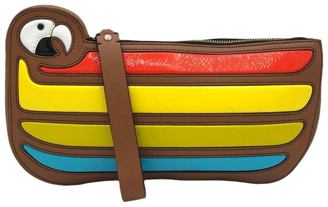 Item - Clutch Multicolor Macaw Parrot Cay 35451 Brown Leather Wristlet