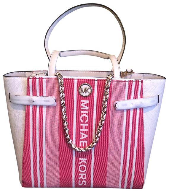 """Item - """"carmen"""" Large Belted Leather Red/Creme Cotton Blend Tote"""