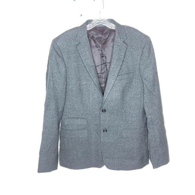 Item - Gray Womens Made In Italy Wool V-neck Two Button Blazer Size 8 (M)