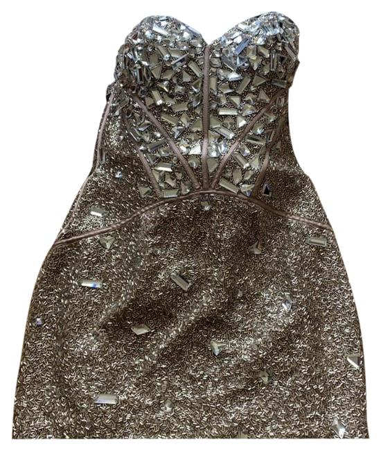 Item - Beige Gold Silver Beaded Prom Short Cocktail Dress Size 2 (XS)