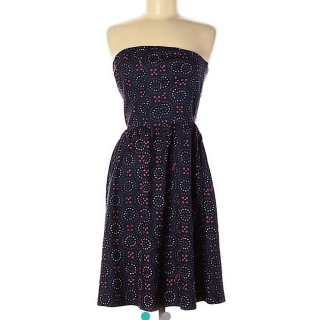 Item - Blue Red Strapless Short Casual Dress Size 6 (S)