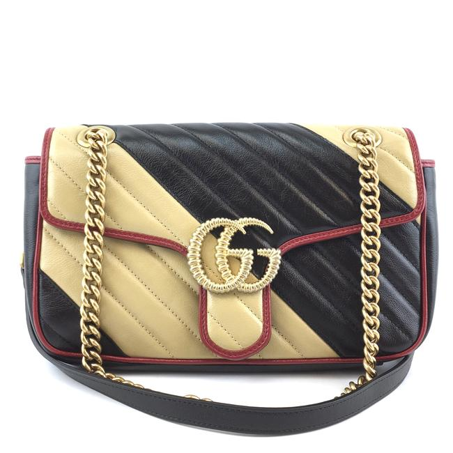 Item - Flap Marmont #42299 Rare Gg Diagonal Quilted Small Black Beige Red Leather Cross Body Bag