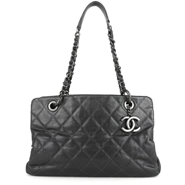 Item - Bag Chic Small Caviar Gray Leather Tote