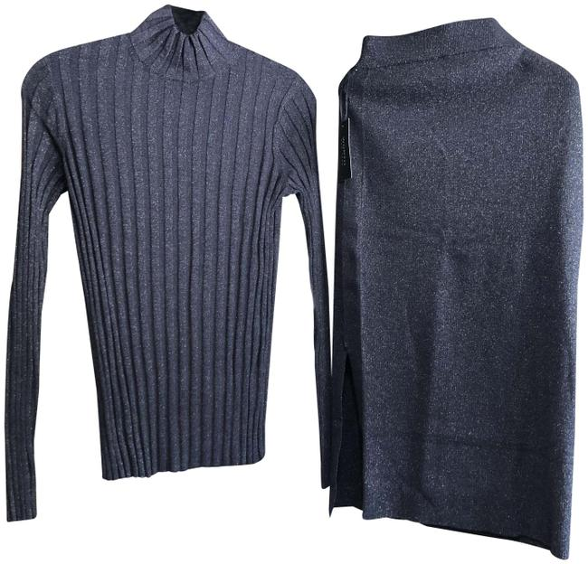 Item - Dark Navy Knit Light Weight Turtleneck Top with Elastic Waisted Matching Skirt Suit Size 8 (M)