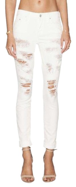 Item - White Distressed Denim The Looker Ripped Party Crashers Skinny Jeans Size 28 (4, S)