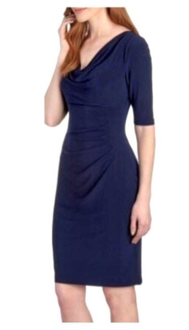 Item - Blue Navy Cowl Neck Ruched Mid-length Work/Office Dress Size 6 (S)