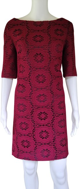 Item - Wine Lace Exposed Zipper Mid-length Short Casual Dress Size 12 (L)