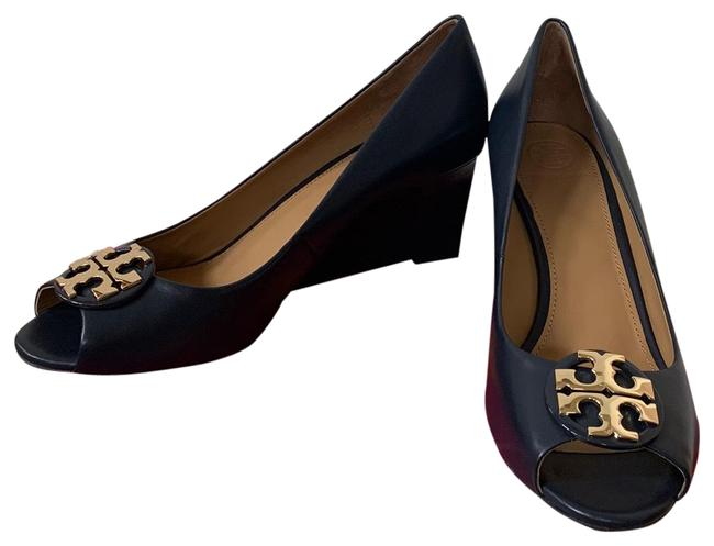 Item - Blue ( Navy ) Claire 65mm Calf Leather Open Wedges Size US 9 Regular (M, B)