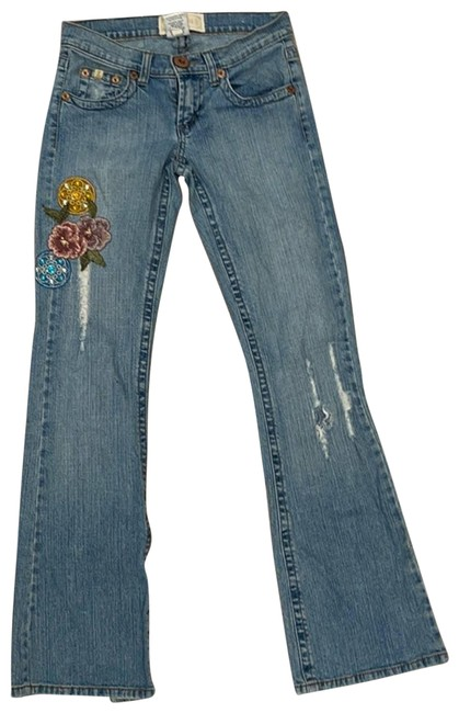 Item - Blue Vintage Floral Embroidered Boot Cut Jeans Size 24 (0, XS)