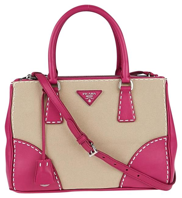 Item - Shopping Canapa And Corda Pink Leather Tote