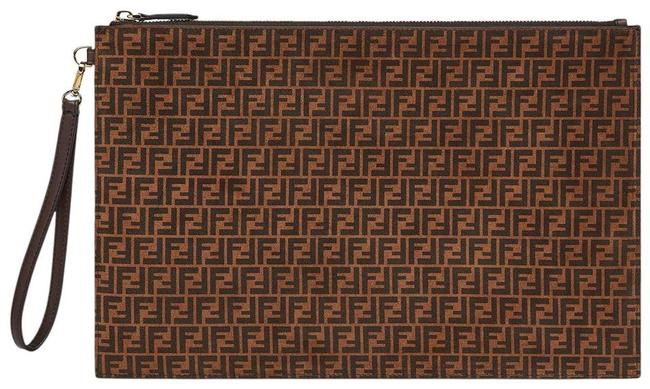 Item - Large Ff Logo Wristlet Pouch Zip Brown Leather Clutch