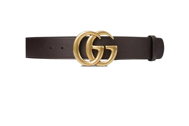 """Item - Brown W Double G Buckle Leather 1.5""""W Cocoa In Leather Belt"""