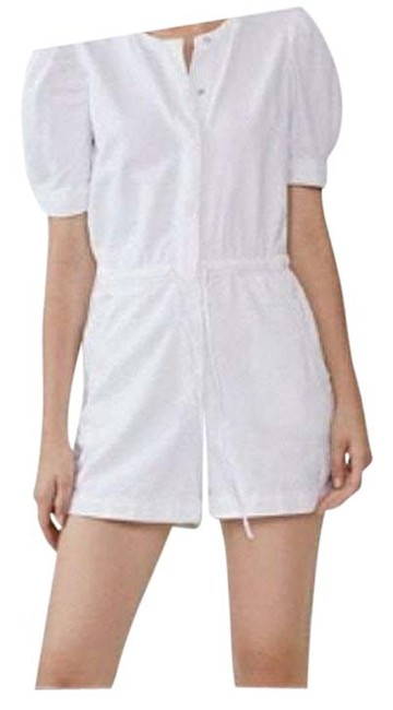 Item - White XS Denim Romper/Shorts with Puff Sleeves Us (0-2) Romper/Jumpsuit