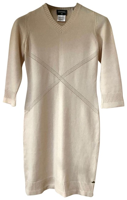 Item - Cream 3/4 Sleeve Sweater Slip On In Mid-length Short Casual Dress Size 8 (M)