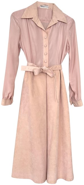 Item - Light Pink Microsuede Halston Inspired 70s Vintage Mid-length Short Casual Dress Size 12 (L)