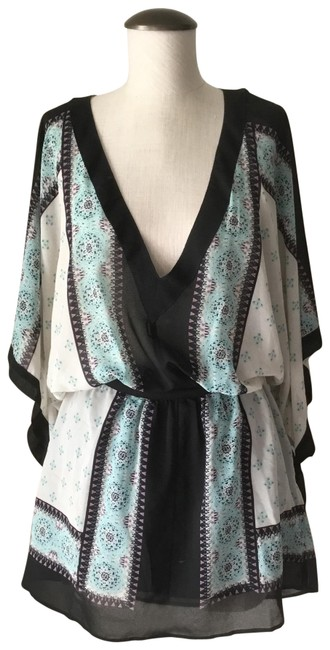 Item - Black and Cream with Teal and Accents Boho Chiffon Short Casual Dress Size 6 (S)