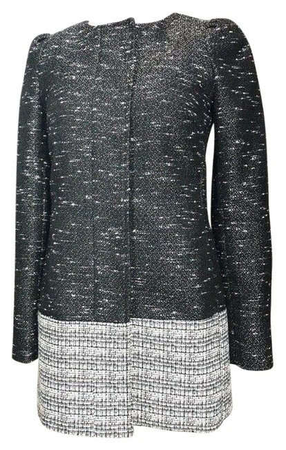 Item - Black and White Collarle Tweed Coat Poncho/Cape Size 0 (XS)