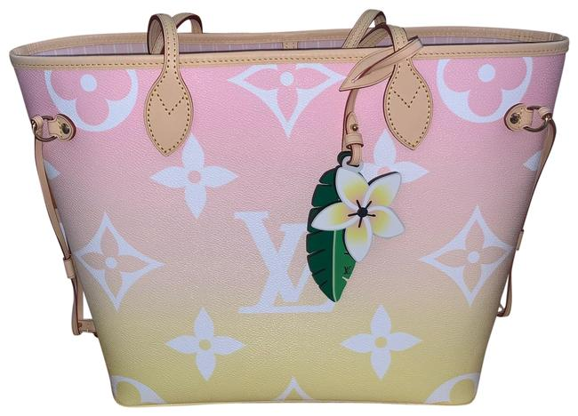 Item - Neverfull By The Pool Mm Pink Canvas Tote