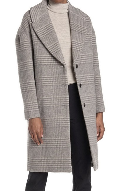 Item - Grey Town Wool Blend Check Plaid Coat Size 6 (S)