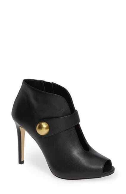 Item - Black Agnes Leather Cut-out Peep Toe Ankle Boots/Booties Size US 8 Regular (M, B)