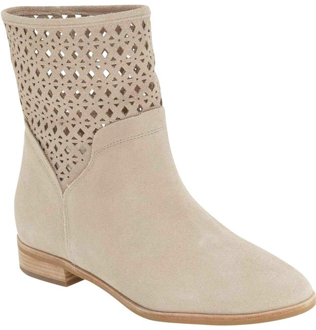 Item - Beige Laser Cut Suede Leather Ankle Boots/Booties Size US 6.5 Regular (M, B)