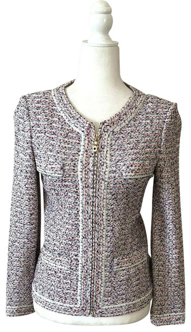 Item - Multi-color Knitted Front Zip Classic Tweed Jacket Blazer Size 2 (XS)