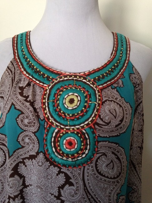 Sunny Leigh Top Turquoise/Brown Image 1