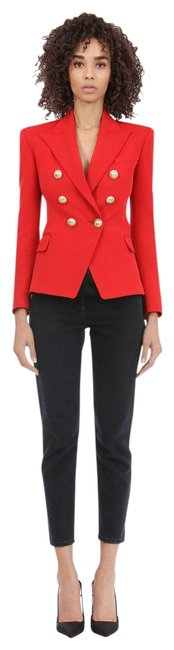 Item - Red Double-breasted Wool Blazer Size 4 (S)