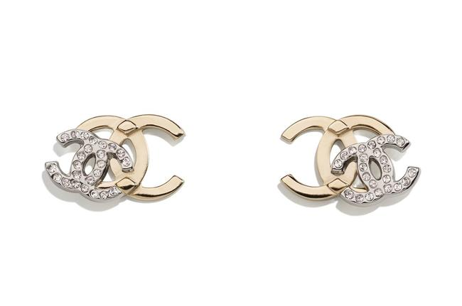 Item - Gold and Silver Double Cc Classic Earrings