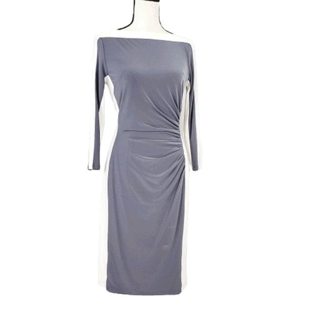 Item - Gray/Ivory Colorblock Ruched Short Casual Dress Size 4 (S)