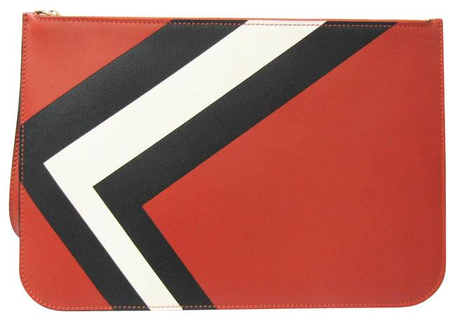 Item - Women's Black / Off-white / Red Brown Leather Clutch