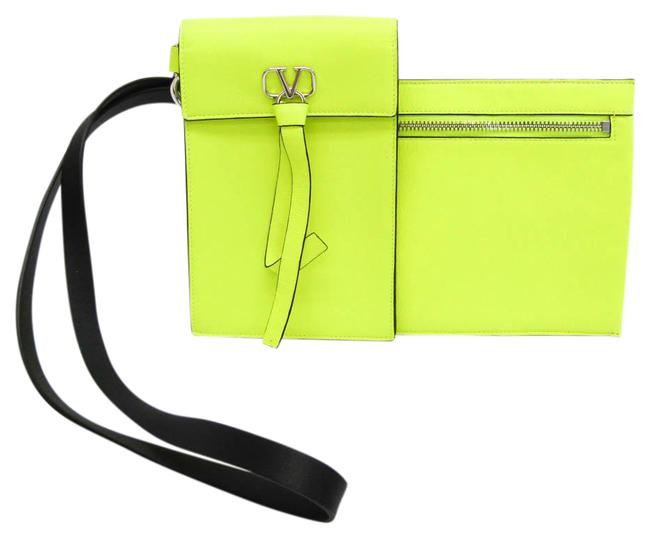 Item - V-ring Neck Pouch Unisex Pouch Green Black / Fluorescent Yellow Leather Clutch
