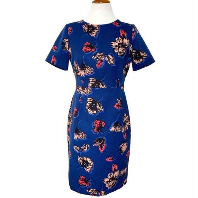 Item - Blue Floral Printed Sheath Mid-length Work/Office Dress Size 8 (M)