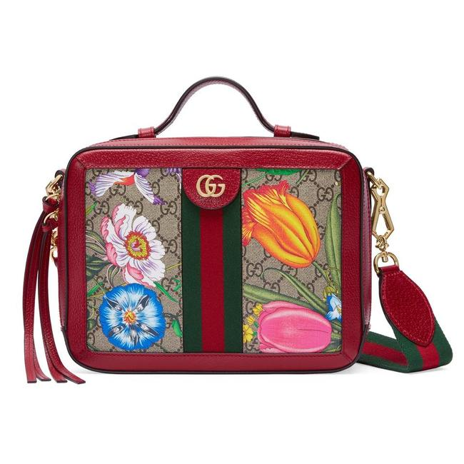 Item - Crossbody Ophidia Top Handle Shoulder Floral Purse Leather Supreme Beige Brown Canvas Tote