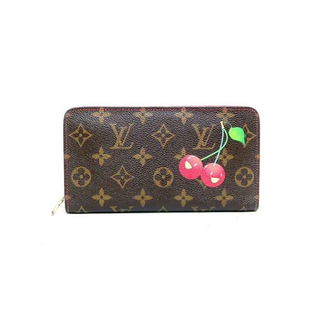 Item - Brown / Red Color Long Lv Monogram with Coin Purse Takashi Murakami Zippy M95006 X Ladies Leather Wallet
