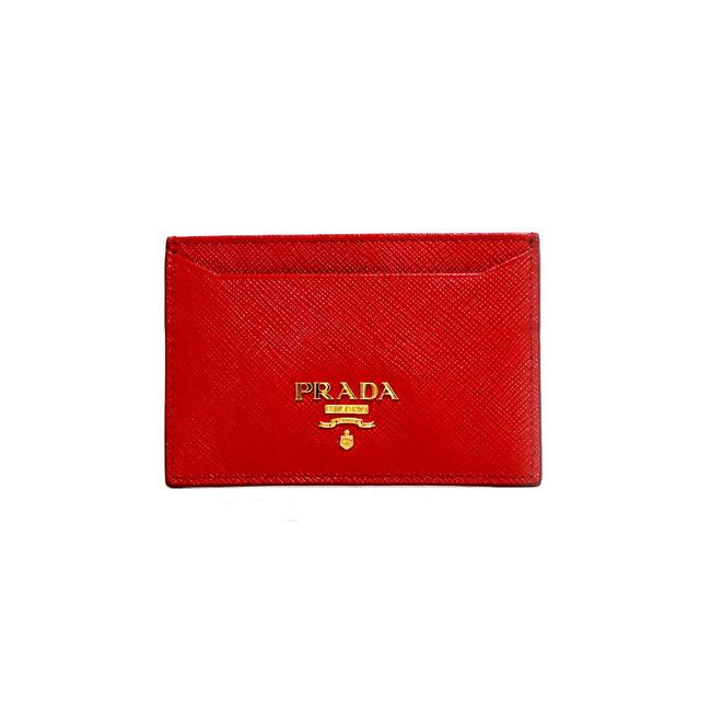 Item - Red Color Card Case Saffiano Gold Hardware Logo 1m0208 Foco Women's Men's Leather Wallet