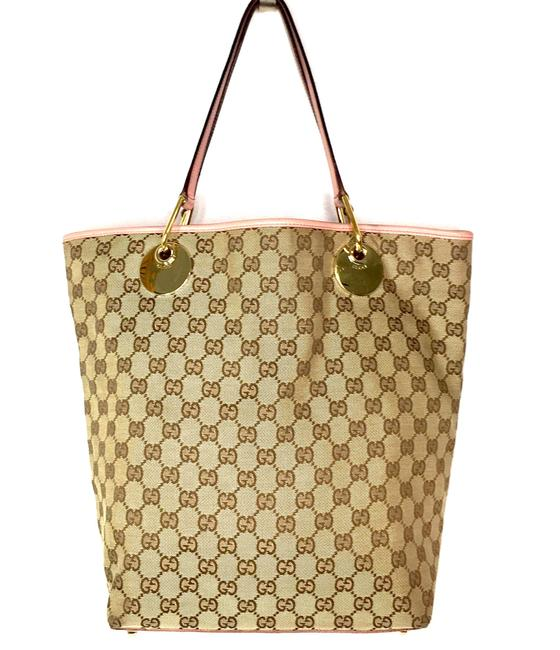 Item - Monogram with Pink Accents Brown Canvas Tote