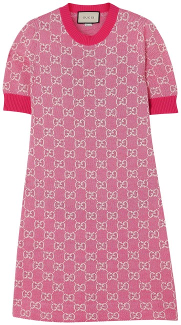 Item - Pink Intarsia Wool and Cotton-blend Short Casual Maxi Dress Size 12 (L)