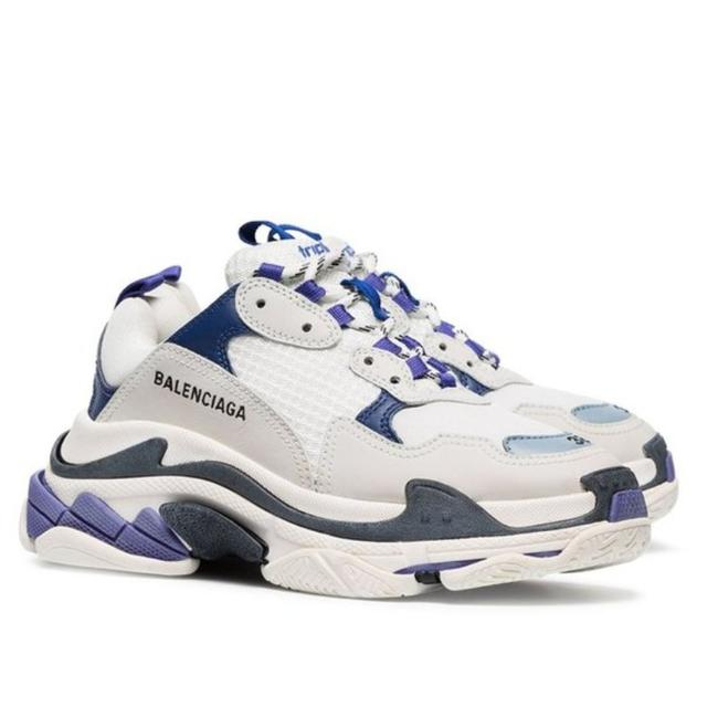 Item - White Blue And Triple S Leather Sneakers Size EU 37 (Approx. US 7) Regular (M, B)