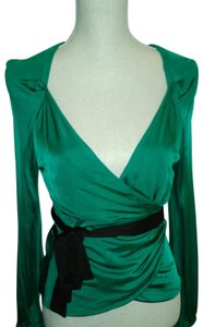 Diane von Furstenberg Top Emerald green/black(sash/buttons on sleeve)