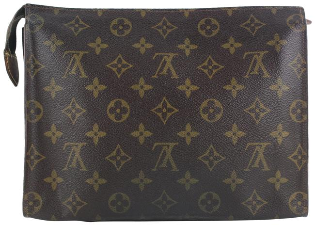 Item - Toiletry Pouch Poche Monogram 26 Toilette Make Up 482lvs64 Brown Coated Canvas Clutch