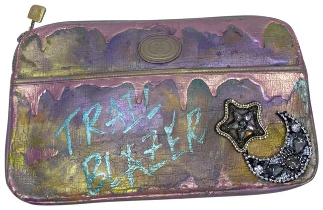 Item - Purple Pink Gold W Vintage Customized By W/ Street Art Mix Media Cosmetic Bag